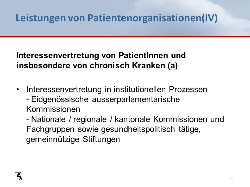 Leistungen von Patientenorganisationen(IV) Interessenvertretung von PatientInnen und insbesondere von chronisch Kranken (a) Interessenvertretung in in