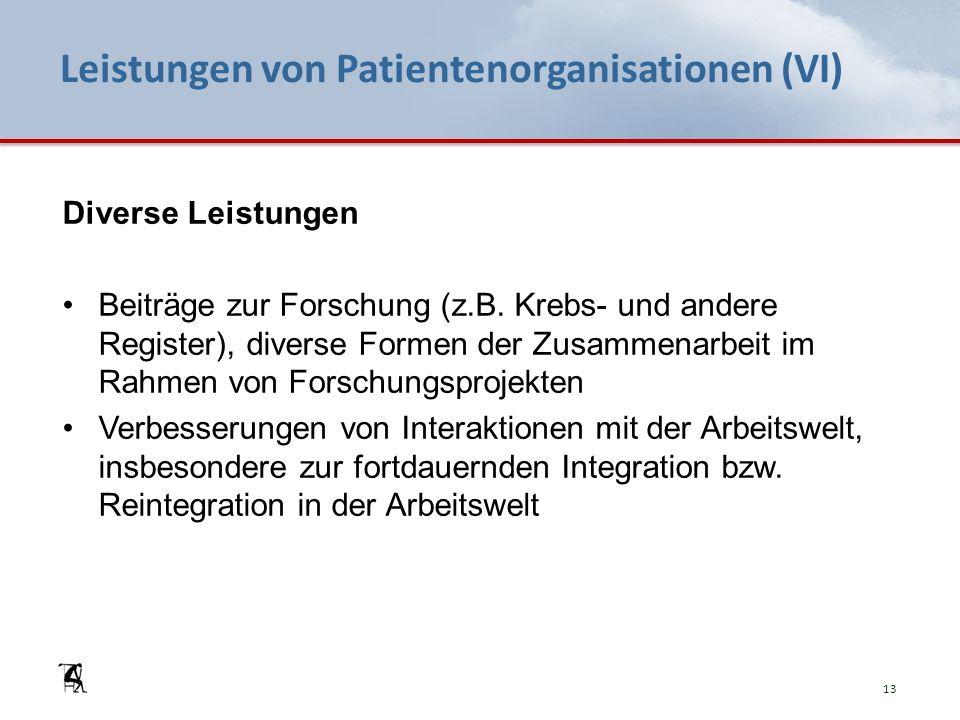 Leistungen von Patientenorganisationen (VI) Diverse Leistungen Beiträge zur Forschung (z.B. Krebs- und andere Register), diverse Formen der Zusammenar