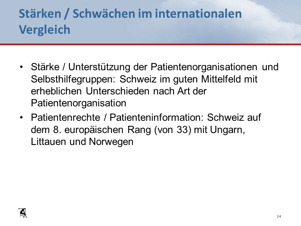 Stärken / Schwächen im internationalen Vergleich Stärke / Unterstützung der Patientenorganisationen und Selbsthilfegruppen: Schweiz im guten Mittelfel