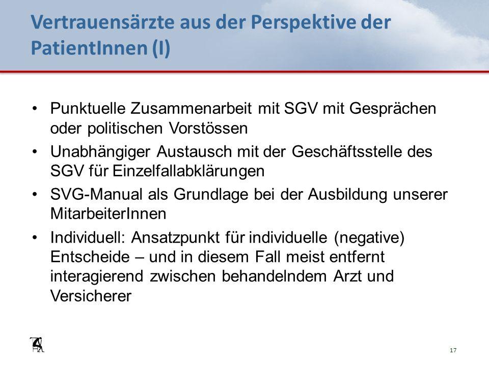 Vertrauensärzte aus der Perspektive der PatientInnen (I) Punktuelle Zusammenarbeit mit SGV mit Gesprächen oder politischen Vorstössen Unabhängiger Aus