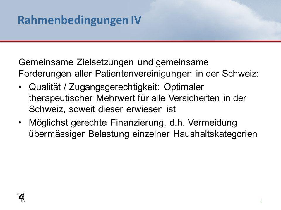 Rahmenbedingungen IV Gemeinsame Zielsetzungen und gemeinsame Forderungen aller Patientenvereinigungen in der Schweiz: Qualität / Zugangsgerechtigkeit: