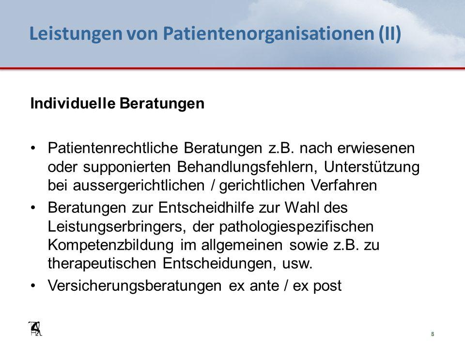 Leistungen von Patientenorganisationen (II) Individuelle Beratungen Patientenrechtliche Beratungen z.B. nach erwiesenen oder supponierten Behandlungsf