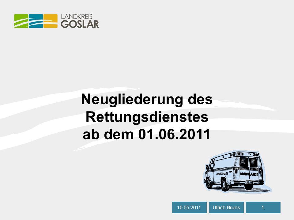 06.05.20081 Ulrich BrunsAutor Neugliederung des Rettungsdienstes ab dem 01.06.2011 10.05.20111 Ulrich Bruns