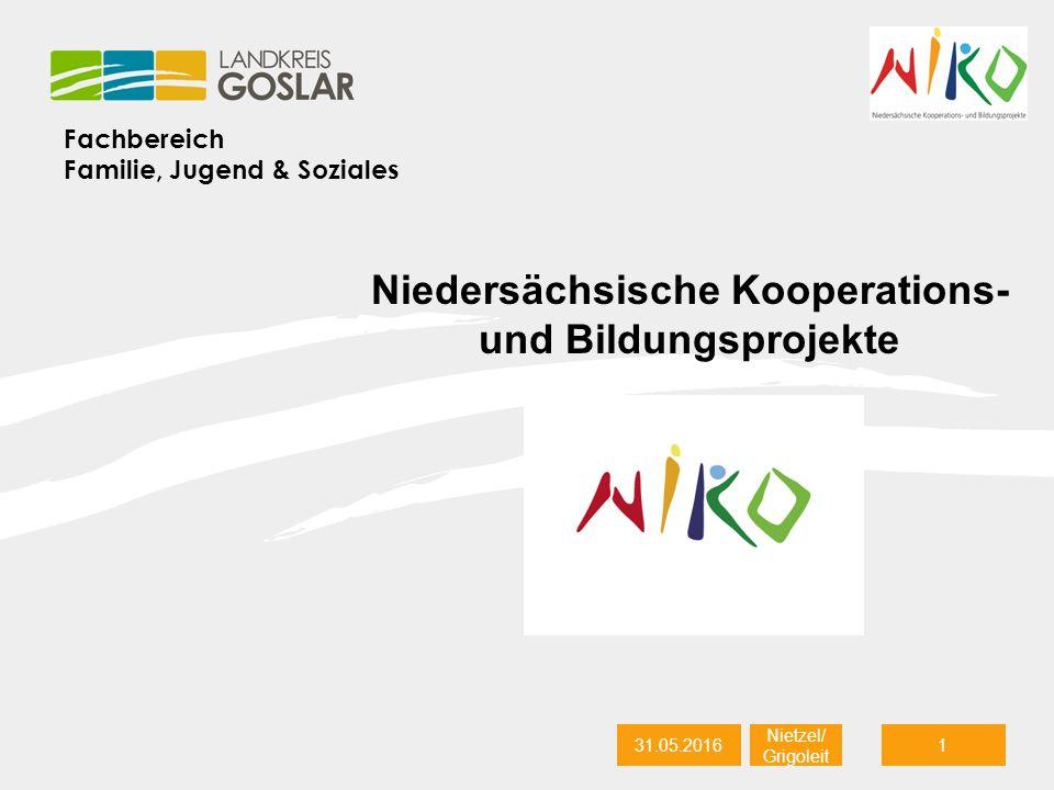 Fachbereich Familie, Jugend & Soziales 31.05.20161 Nietzel/ Grigoleit Niedersächsische Kooperations- und Bildungsprojekte