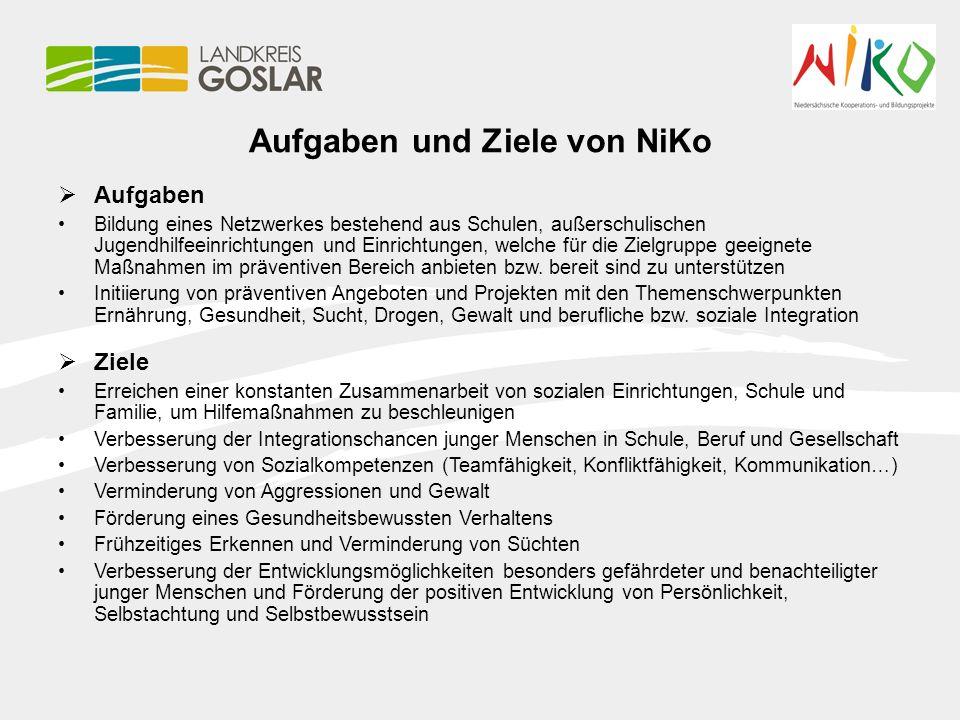 Aufgaben und Ziele von NiKo  Aufgaben Bildung eines Netzwerkes bestehend aus Schulen, außerschulischen Jugendhilfeeinrichtungen und Einrichtungen, we