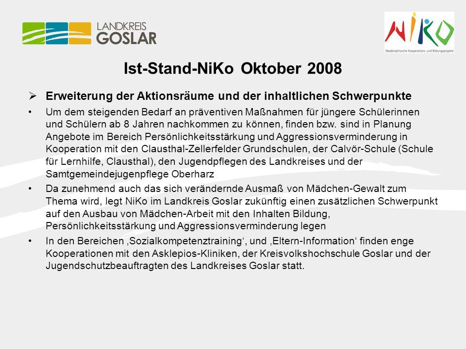 Ist-Stand-NiKo Oktober 2008  Erweiterung der Aktionsräume und der inhaltlichen Schwerpunkte Um dem steigenden Bedarf an präventiven Maßnahmen für jün