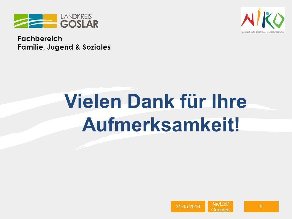 Fachbereich Familie, Jugend & Soziales 31.05.20165 Nietzel/ Grigoleit Vielen Dank für Ihre Aufmerksamkeit!