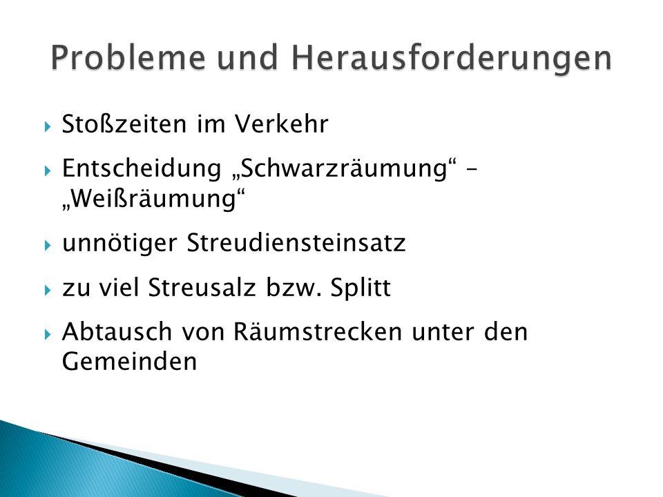 """ Stoßzeiten im Verkehr  Entscheidung """"Schwarzräumung – """"Weißräumung  unnötiger Streudiensteinsatz  zu viel Streusalz bzw."""