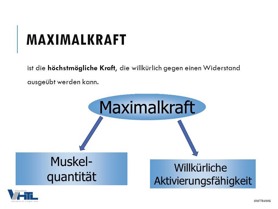 MAXIMALKRAFT ist die höchstmögliche Kraft, die willkürlich gegen einen Widerstand ausgeübt werden kann. KRAFTTRAINING Maximalkraft Muskel- quantität W