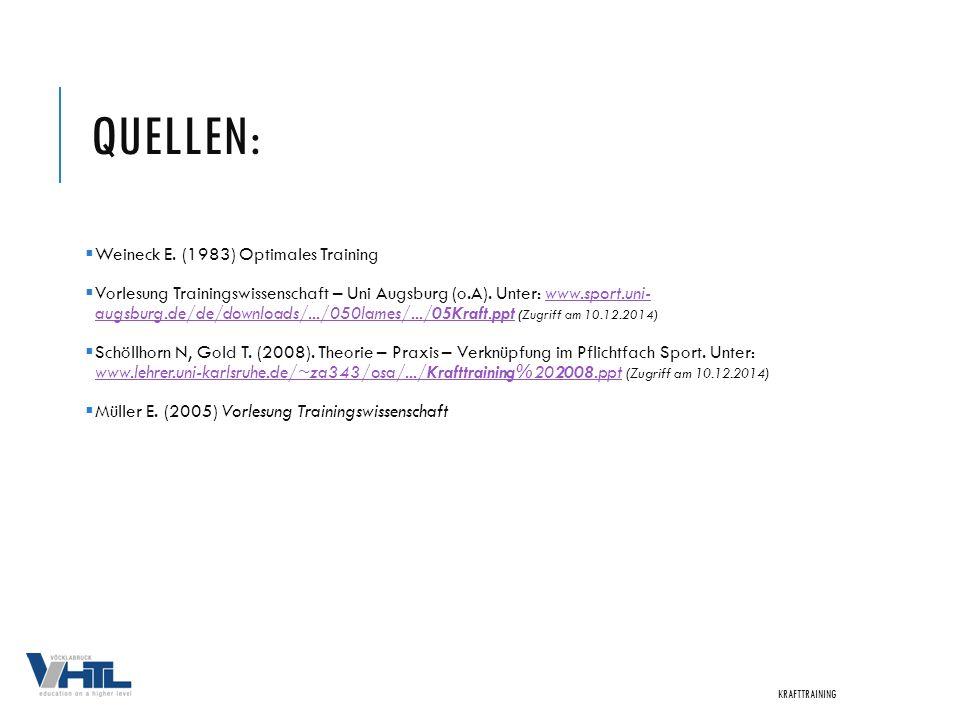 QUELLEN:  Weineck E. (1983) Optimales Training  Vorlesung Trainingswissenschaft – Uni Augsburg (o.A). Unter: www.sport.uni- augsburg.de/de/downloads