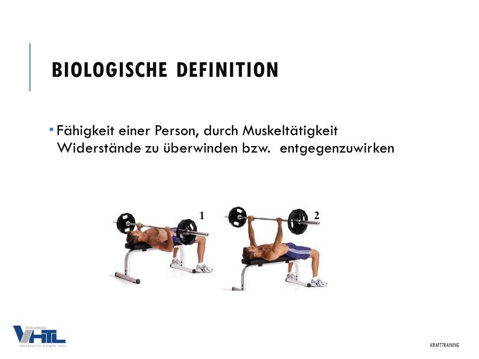 BIOLOGISCHE DEFINITION  Fähigkeit einer Person, durch Muskeltätigkeit Widerstände zu überwinden bzw. entgegenzuwirken KRAFTTRAINING