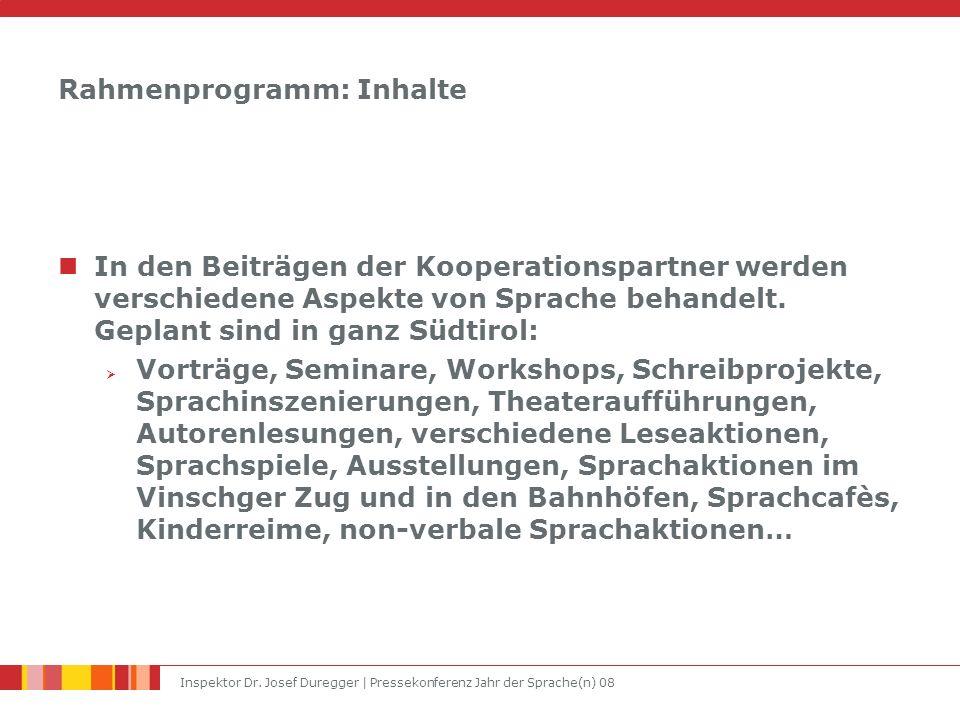 Inspektor Dr. Josef Duregger | Pressekonferenz Jahr der Sprache(n) 08 Rahmenprogramm: Inhalte In den Beiträgen der Kooperationspartner werden verschie