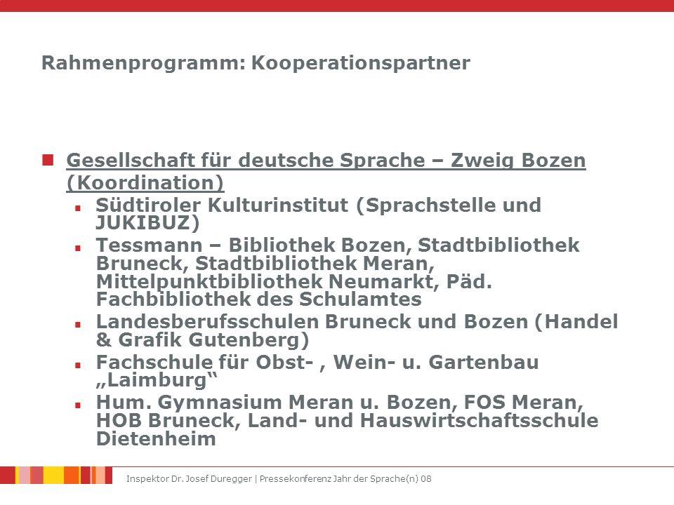 Inspektor Dr. Josef Duregger | Pressekonferenz Jahr der Sprache(n) 08 Rahmenprogramm: Kooperationspartner Gesellschaft für deutsche Sprache – Zweig Bo