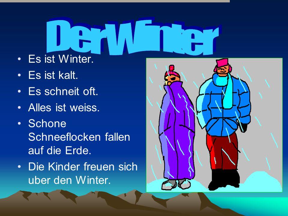 Es ist Winter. Es ist kalt. Es schneit oft. Alles ist weiss.