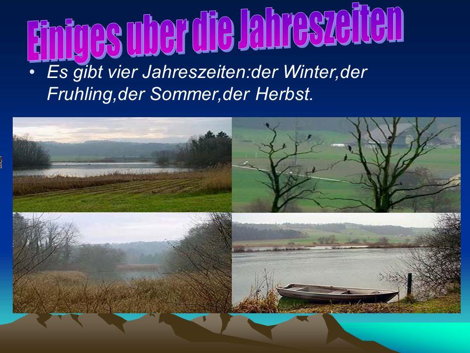 Es gibt vier Jahreszeiten:der Winter,der Fruhling,der Sommer,der Herbst.