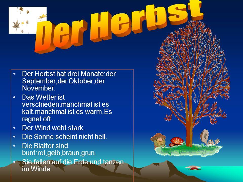 Der Herbst hat drei Monate:der September,der Oktober,der November. Das Wetter ist verschieden:manchmal ist es kalt,manchmal ist es warm.Es regnet oft.