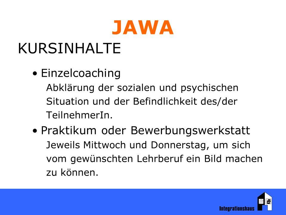 JAWA KURSINHALTE Einzelcoaching Abklärung der sozialen und psychischen Situation und der Befindlichkeit des/der TeilnehmerIn.