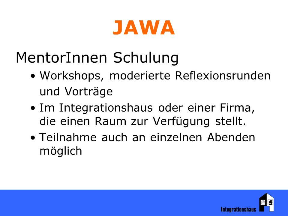 JAWA MentorInnen Schulung Workshops, moderierte Reflexionsrunden und Vorträge Im Integrationshaus oder einer Firma, die einen Raum zur Verfügung stellt.