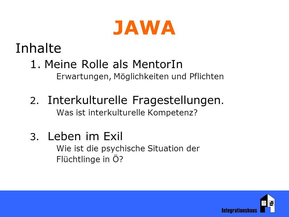 JAWA Inhalte 1.Meine Rolle als MentorIn Erwartungen, Möglichkeiten und Pflichten 2.