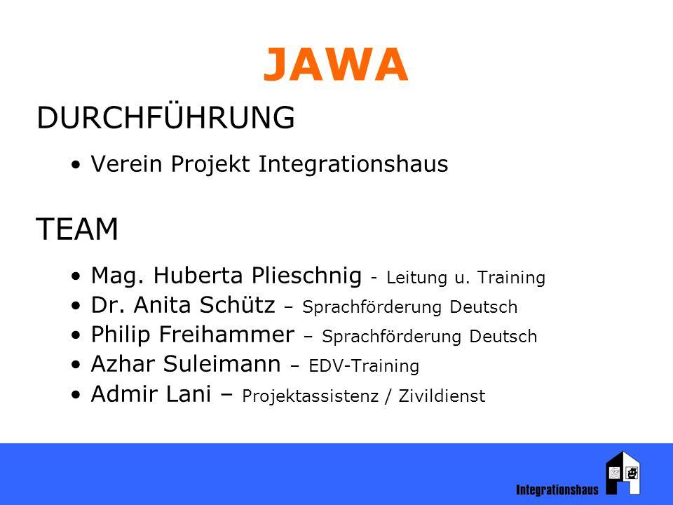 JAWA DURCHFÜHRUNG Verein Projekt Integrationshaus TEAM Mag.
