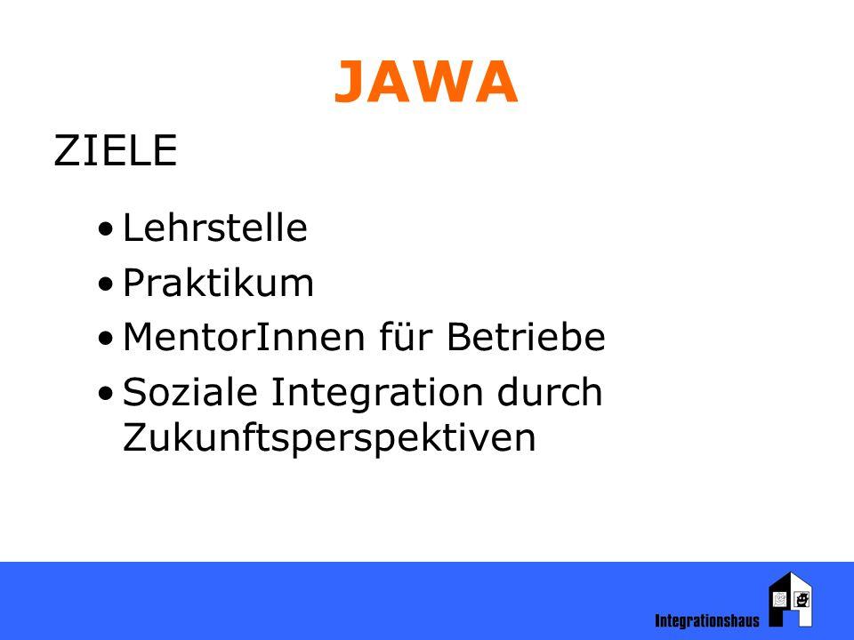 JAWA ZIELE Lehrstelle Praktikum MentorInnen für Betriebe Soziale Integration durch Zukunftsperspektiven