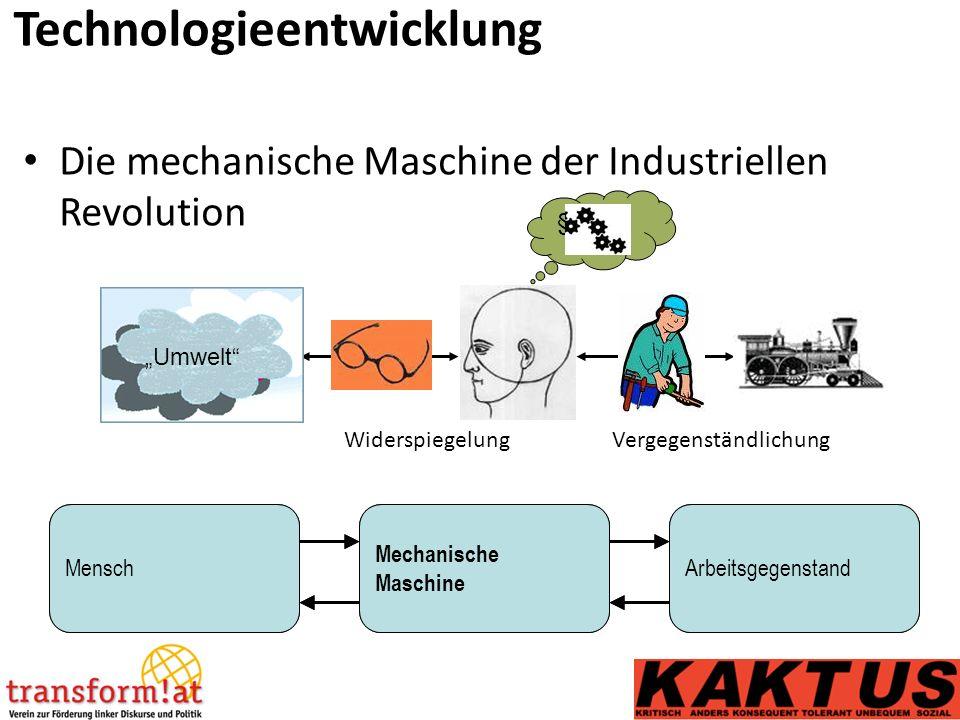 """Technologieentwicklung """"Umwelt § ~+* Die mechanische Maschine der Industriellen Revolution MenschWerkzeugArbeitsgegenstandMensch Mechanische Maschine Arbeitsgegenstand WiderspiegelungVergegenständlichung"""