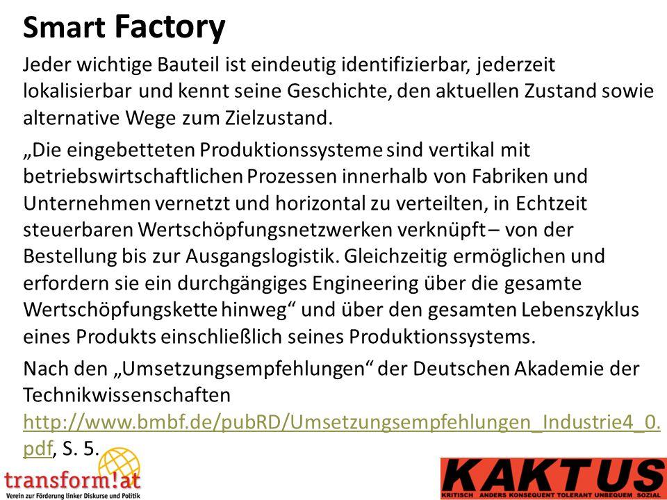 Smart Factory Jeder wichtige Bauteil ist eindeutig identifizierbar, jederzeit lokalisierbar und kennt seine Geschichte, den aktuellen Zustand sowie alternative Wege zum Zielzustand.