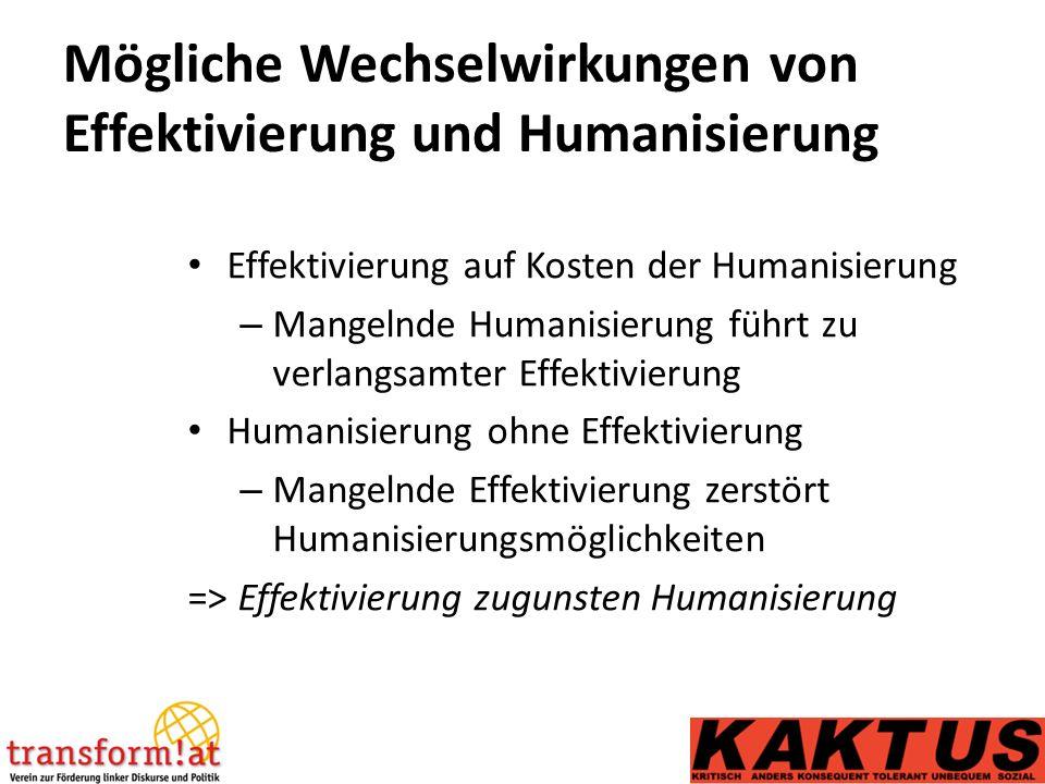 Mögliche Wechselwirkungen von Effektivierung und Humanisierung Effektivierung auf Kosten der Humanisierung – Mangelnde Humanisierung führt zu verlangsamter Effektivierung Humanisierung ohne Effektivierung – Mangelnde Effektivierung zerstört Humanisierungsmöglichkeiten => Effektivierung zugunsten Humanisierung