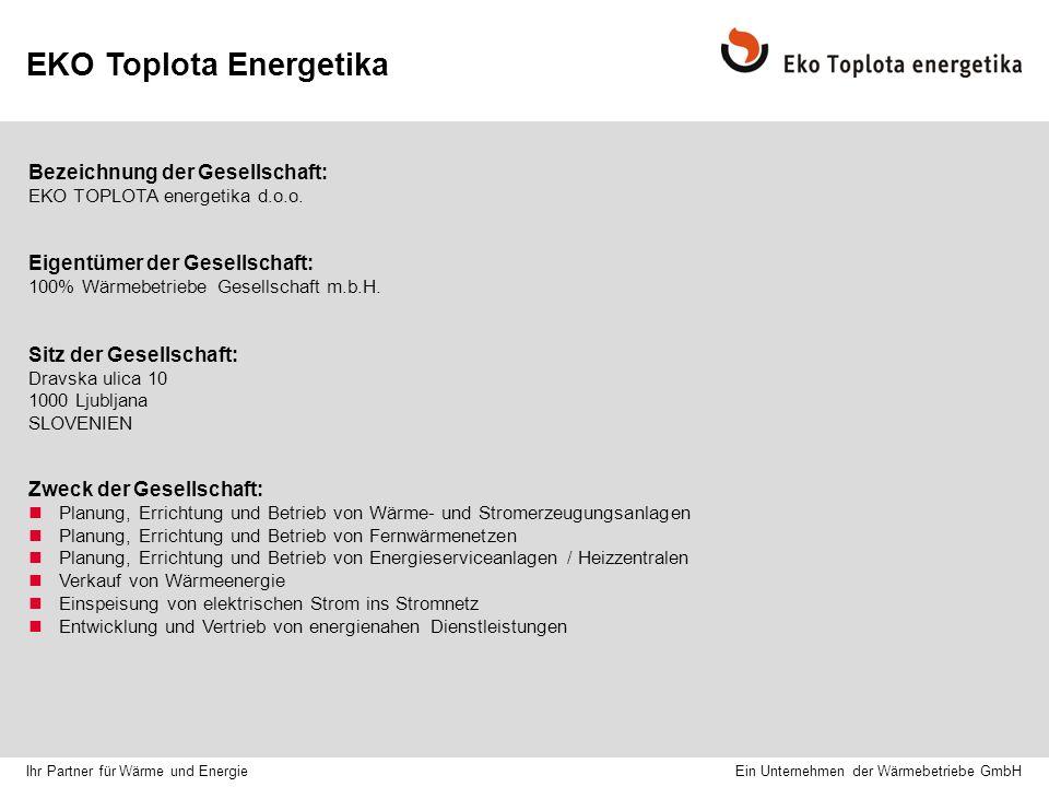 EKO Toplota Energetika Bezeichnung der Gesellschaft: EKO TOPLOTA energetika d.o.o.