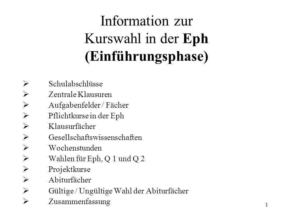 1 Information zur Kurswahl in der Eph (Einführungsphase)  Schulabschlüsse  Zentrale Klausuren  Aufgabenfelder / Fächer  Pflichtkurse in der Eph 