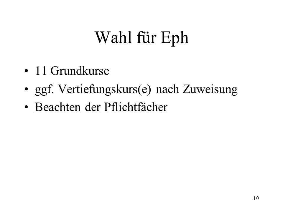 10 Wahl für Eph 11 Grundkurse ggf. Vertiefungskurs(e) nach Zuweisung Beachten der Pflichtfächer