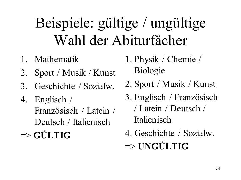 14 Beispiele: gültige / ungültige Wahl der Abiturfächer 1.Mathematik 2.Sport / Musik / Kunst 3.Geschichte / Sozialw. 4.Englisch / Französisch / Latein