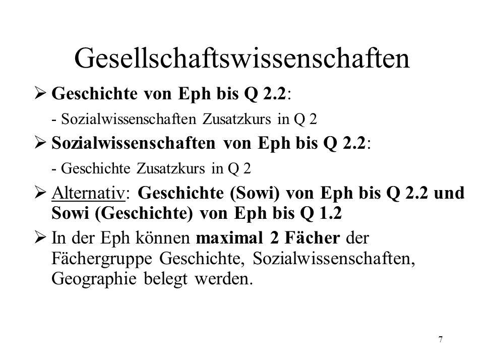 7 Gesellschaftswissenschaften  Geschichte von Eph bis Q 2.2: - Sozialwissenschaften Zusatzkurs in Q 2  Sozialwissenschaften von Eph bis Q 2.2: - Geschichte Zusatzkurs in Q 2  Alternativ: Geschichte (Sowi) von Eph bis Q 2.2 und Sowi (Geschichte) von Eph bis Q 1.2  In der Eph können maximal 2 Fächer der Fächergruppe Geschichte, Sozialwissenschaften, Geographie belegt werden.