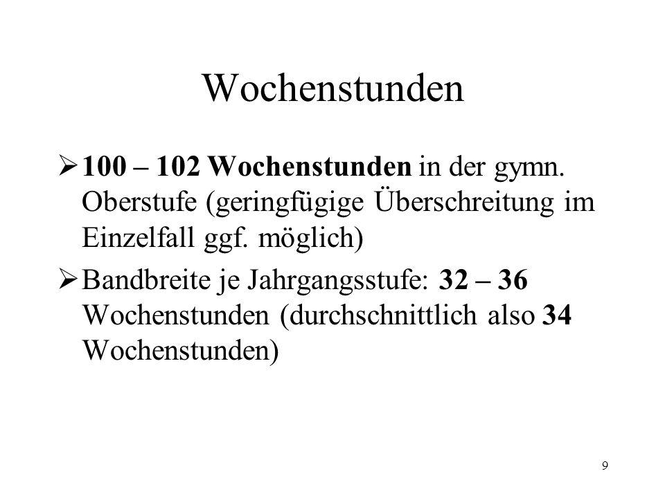 9 Wochenstunden  100 – 102 Wochenstunden in der gymn. Oberstufe (geringfügige Überschreitung im Einzelfall ggf. möglich)  Bandbreite je Jahrgangsstu