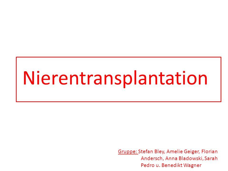 Nierentransplantation Gruppe: Stefan Bley, Amelie Geiger, Florian Andersch, Anna Bladowski, Sarah Pedro u. Benedikt Wagner