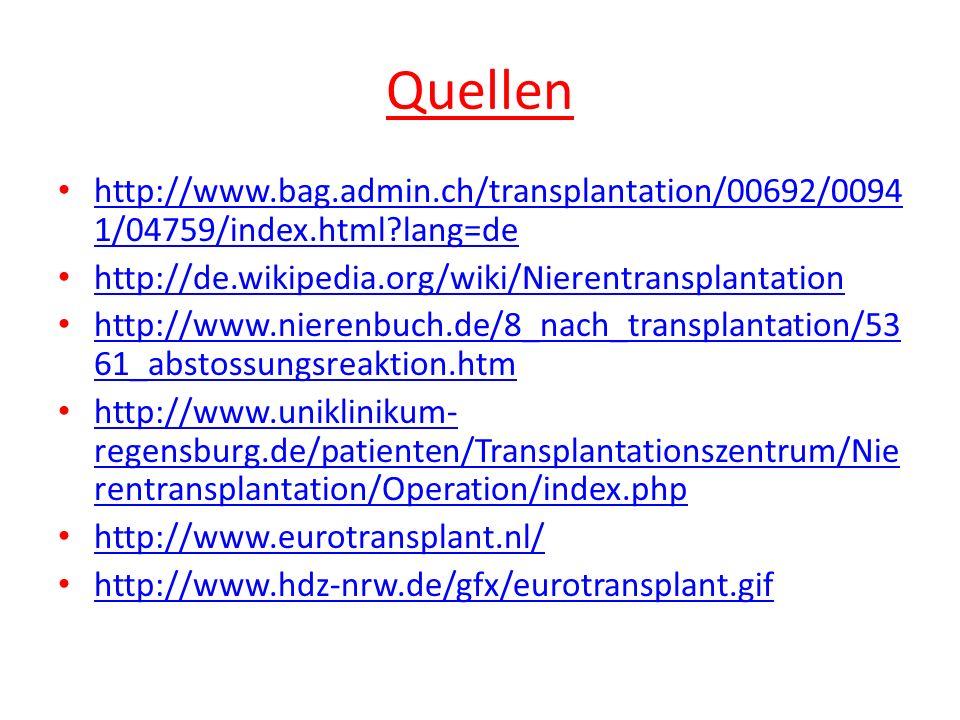 Quellen http://www.bag.admin.ch/transplantation/00692/0094 1/04759/index.html?lang=de http://www.bag.admin.ch/transplantation/00692/0094 1/04759/index