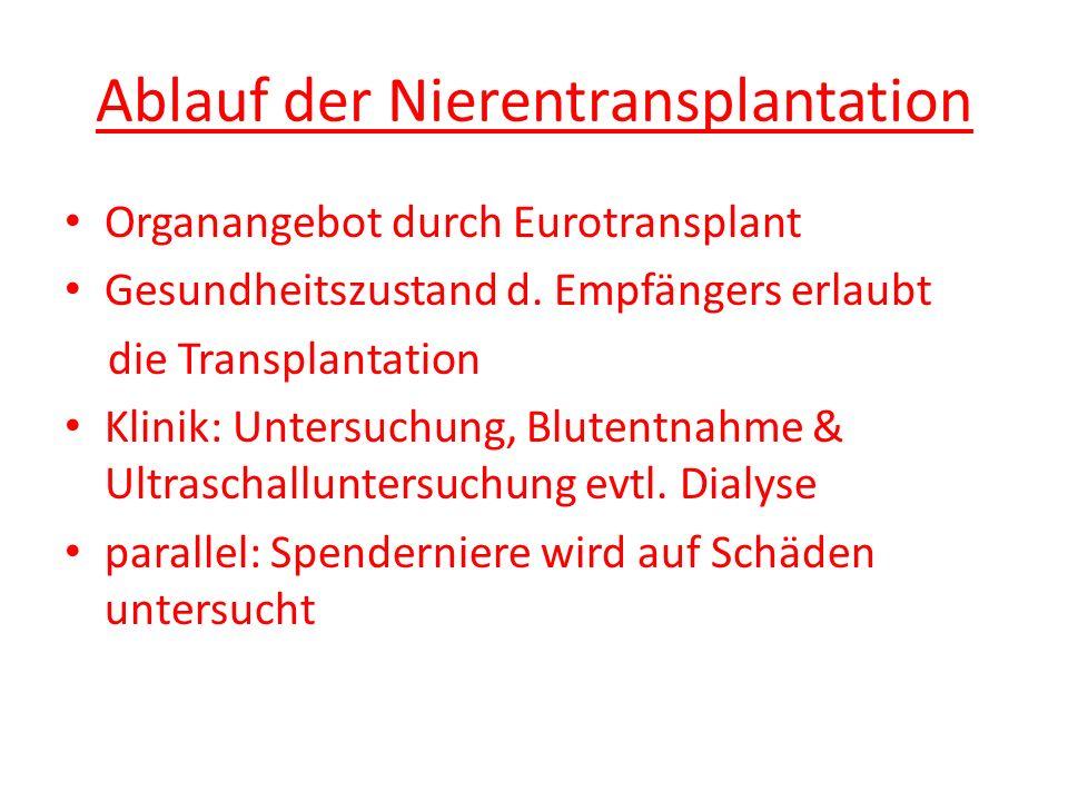Ablauf der Nierentransplantation Organangebot durch Eurotransplant Gesundheitszustand d. Empfängers erlaubt die Transplantation Klinik: Untersuchung,