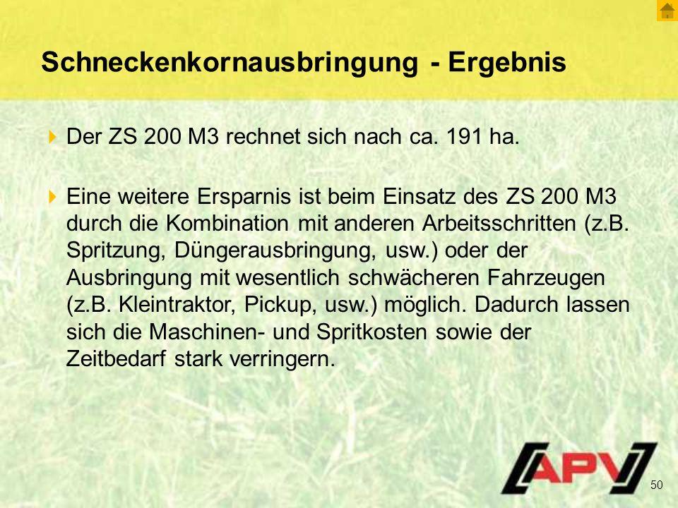 Schneckenkornausbringung - Ergebnis  Der ZS 200 M3 rechnet sich nach ca.