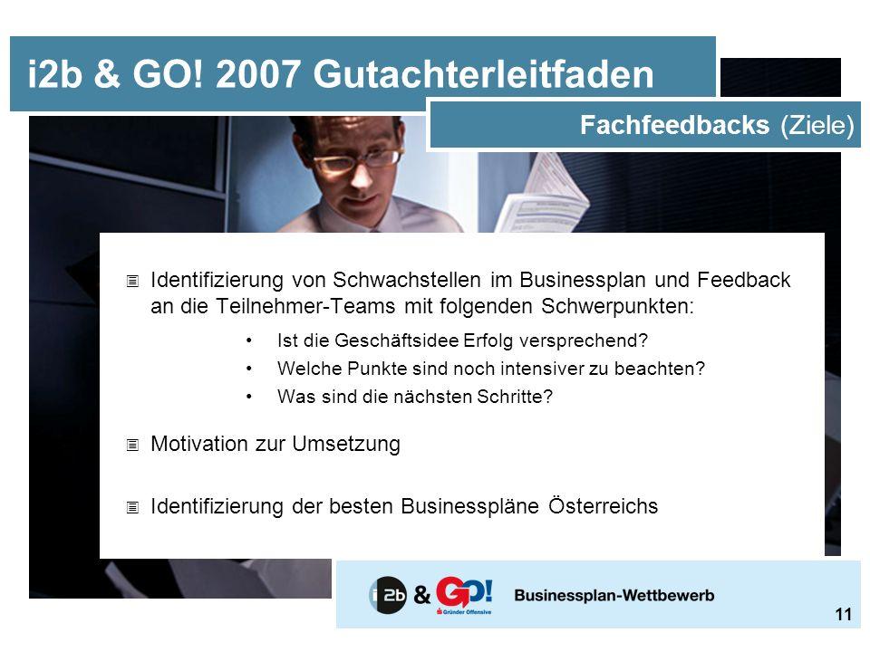  Identifizierung von Schwachstellen im Businessplan und Feedback an die Teilnehmer-Teams mit folgenden Schwerpunkten: Ist die Geschäftsidee Erfolg versprechend.
