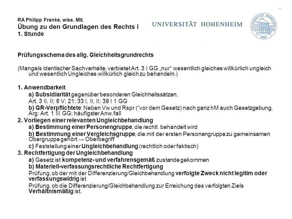 RA Philipp Franke, wiss. Mit. Übung zu den Grundlagen des Rechts I 1. Stunde Prüfungsschema des allg. Gleichheitsgrundrechts (Mangels identischer Sach
