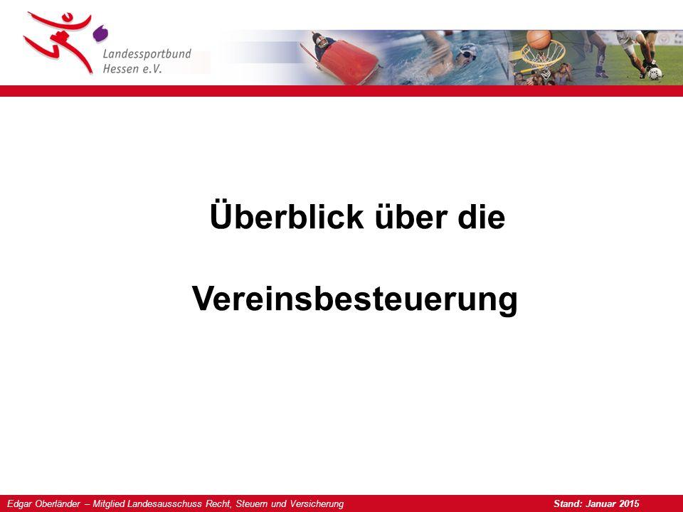Edgar Oberländer – Mitglied Landesausschuss Recht, Steuern und Versicherung Stand: Januar 2015 Überblick über die Vereinsbesteuerung