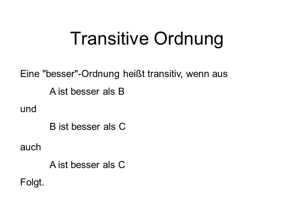Transitive Ordnung Eine besser -Ordnung heißt transitiv, wenn aus A ist besser als B und B ist besser als C auch A ist besser als C Folgt.
