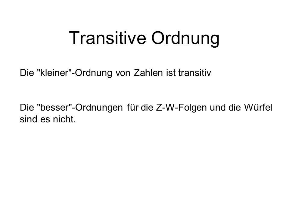 Transitive Ordnung Die kleiner -Ordnung von Zahlen ist transitiv Die besser -Ordnungen für die Z-W-Folgen und die Würfel sind es nicht.