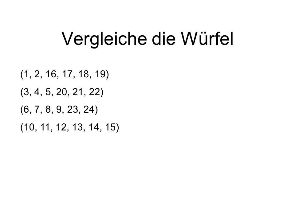 Vergleiche die Würfel (1, 2, 16, 17, 18, 19) (3, 4, 5, 20, 21, 22) (6, 7, 8, 9, 23, 24) (10, 11, 12, 13, 14, 15)