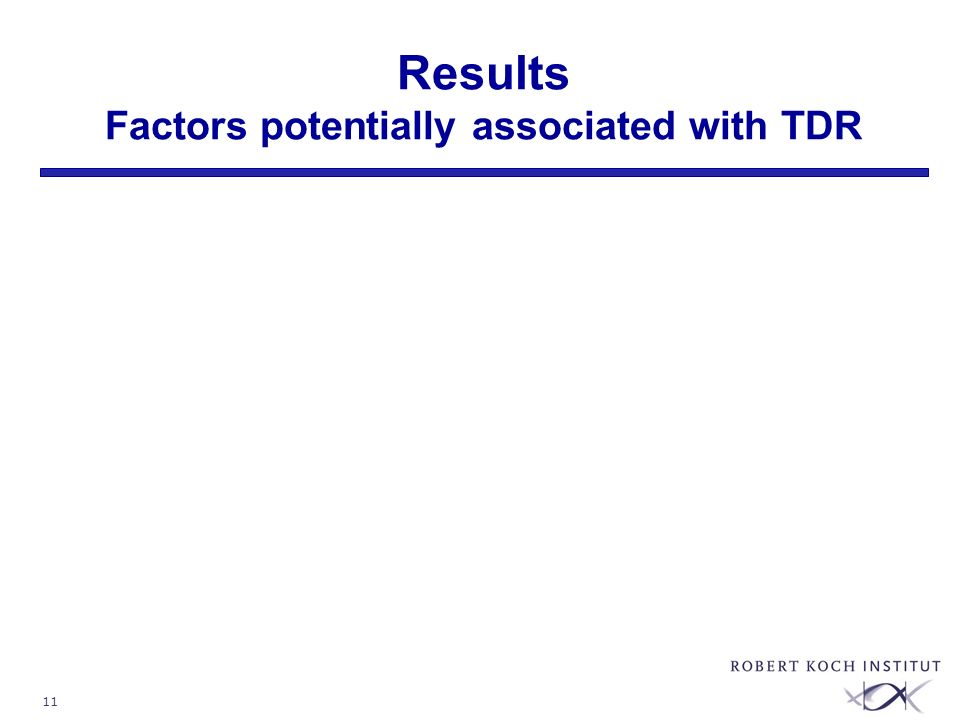 11 Results Factors potentially associated with TDR