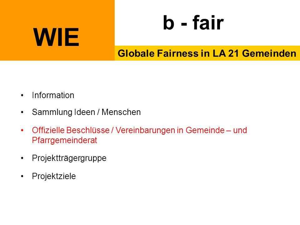 WIE Globale Fairness in LA 21 Gemeinden b - fair Information Sammlung Ideen / Menschen Offizielle Beschlüsse / Vereinbarungen in Gemeinde – und Pfarrgemeinderat Projektträgergruppe Projektziele
