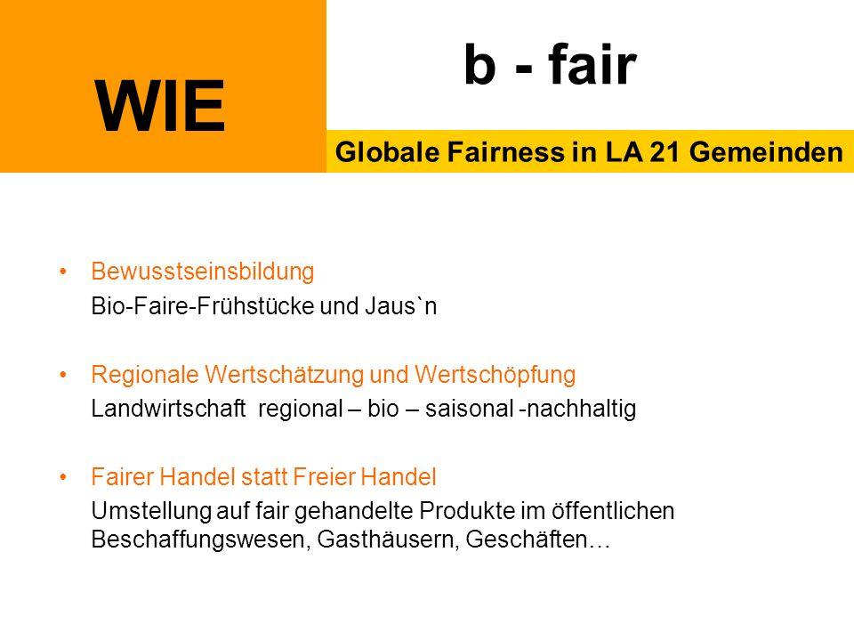 WIE Globale Fairness in LA 21 Gemeinden b - fair Bewusstseinsbildung Bio-Faire-Frühstücke und Jaus`n Regionale Wertschätzung und Wertschöpfung Landwir