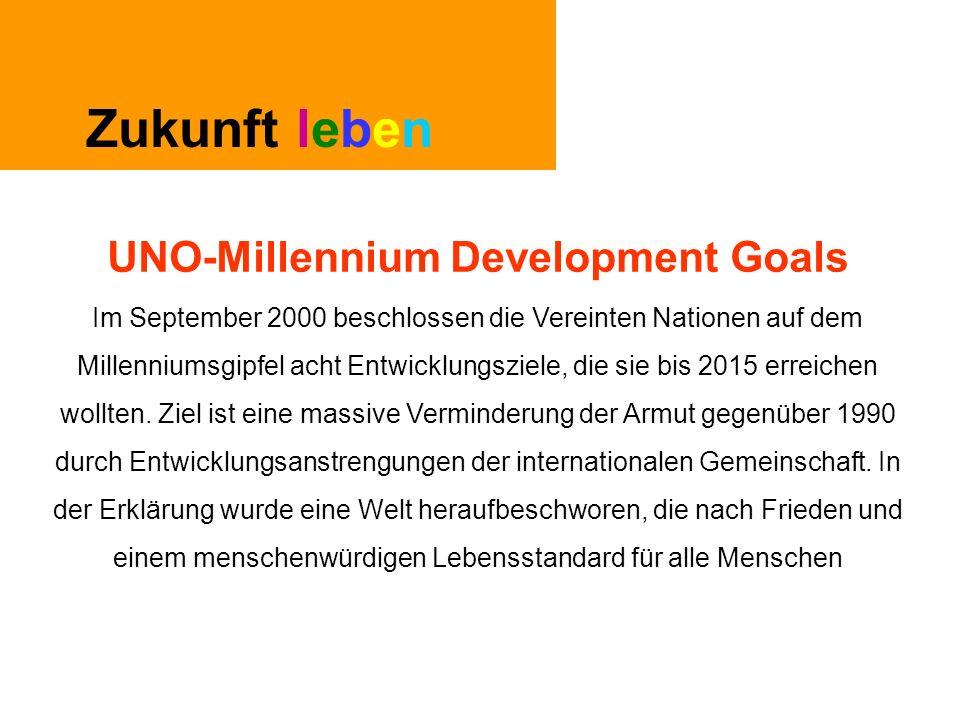 Zukunft leben UNO-Millennium Development Goals Im September 2000 beschlossen die Vereinten Nationen auf dem Millenniumsgipfel acht Entwicklungsziele, die sie bis 2015 erreichen wollten.