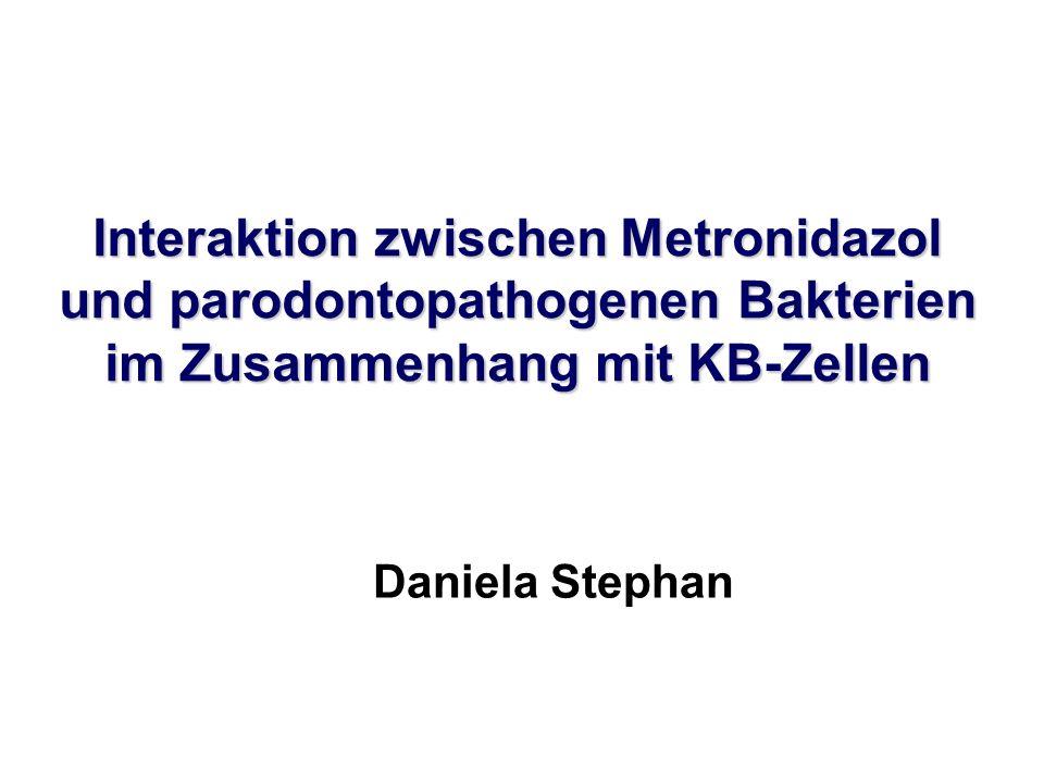 Freisetzung von TGF-β 1 aus KB-Zellen Ergebnisse - Zytokinfreisetzung Die Konzentrationen von TGF-β1 waren kurzzeitig nach Zugabe des Metronidazols leicht erhöht.