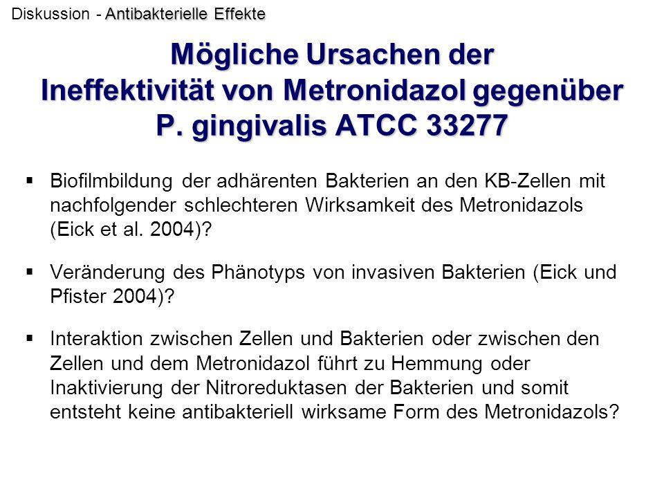 Mögliche Ursachen der Ineffektivität von Metronidazol gegenüber P. gingivalis ATCC 33277  Biofilmbildung der adhärenten Bakterien an den KB-Zellen mi
